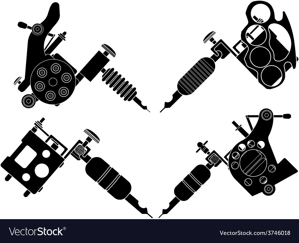 Set of 4 different style tattoo machines vector | Price: 1 Credit (USD $1)