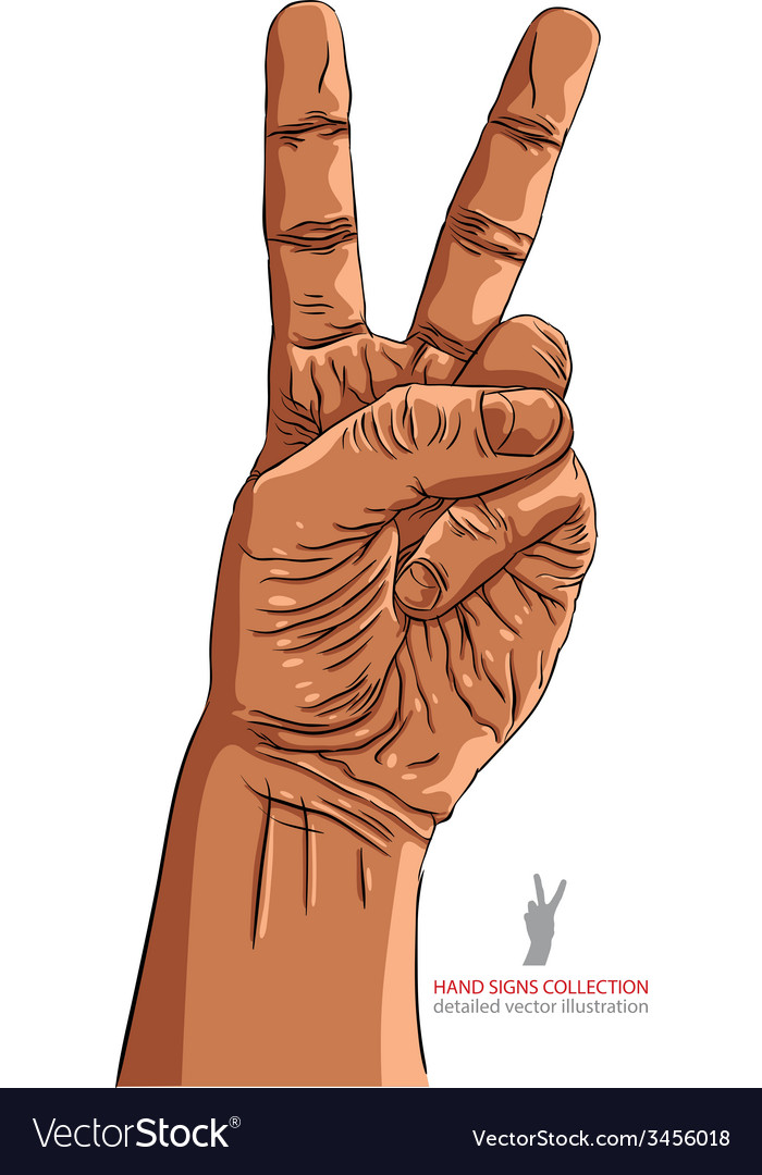 Victory hand sign african ethnicity detailed vector | Price: 1 Credit (USD $1)