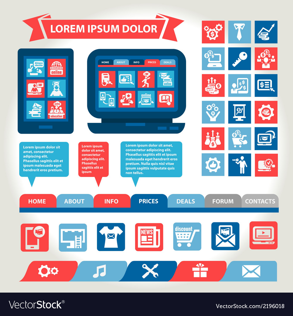 Web and mobile flat design elements vector | Price: 1 Credit (USD $1)