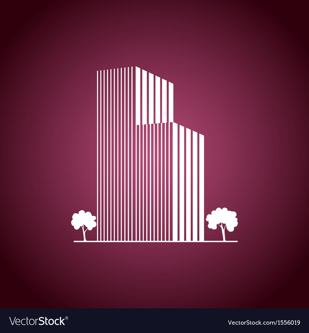 Buildings and trees over pink vector | Price: 1 Credit (USD $1)
