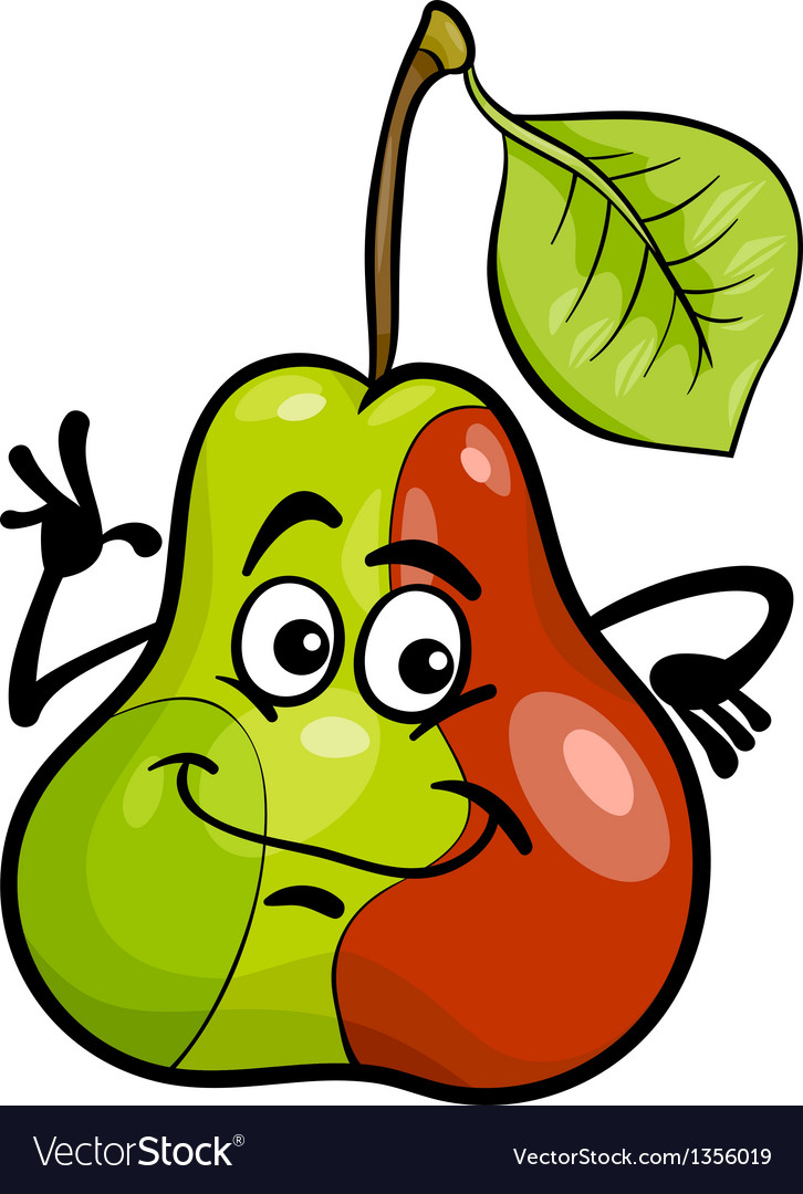 Funny pear fruit cartoon vector | Price: 1 Credit (USD $1)