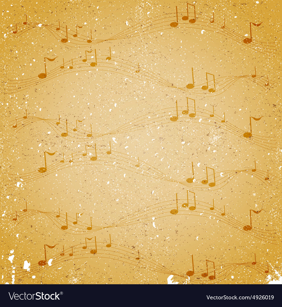 Grunge background with notes vector