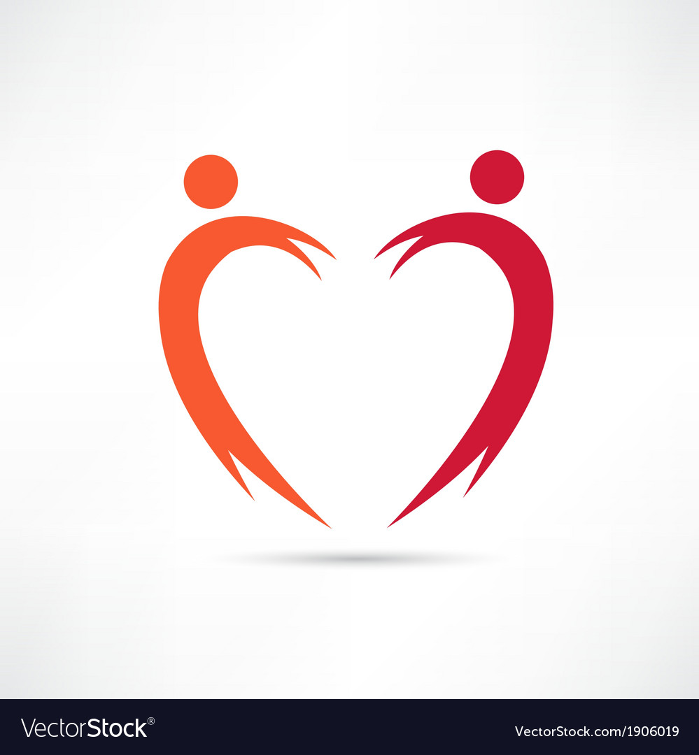 Heart of the people icon vector
