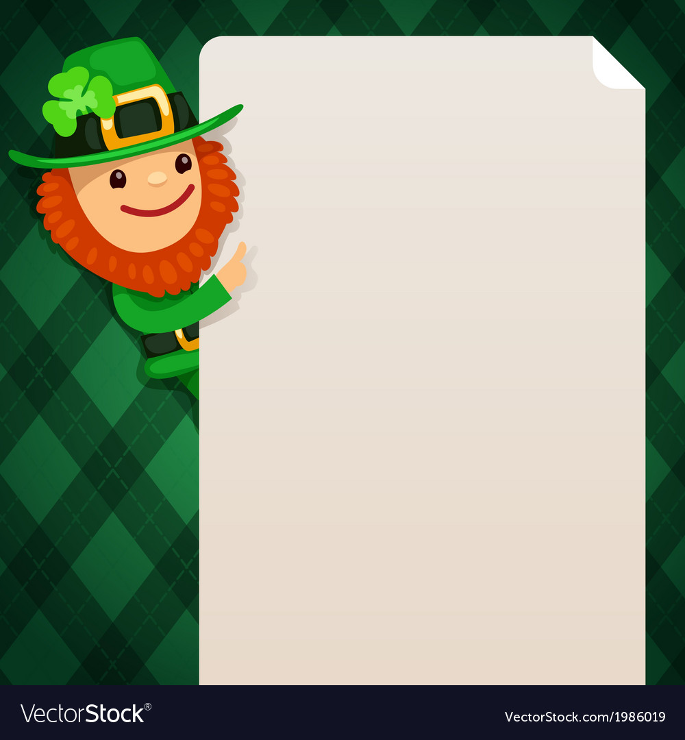 Leprechaun looking at blank poster green vector | Price: 1 Credit (USD $1)