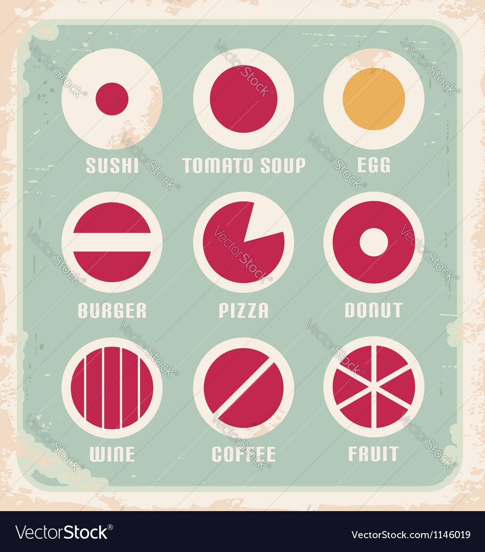 Retro set of food pictogram icons and symbols vector | Price: 1 Credit (USD $1)
