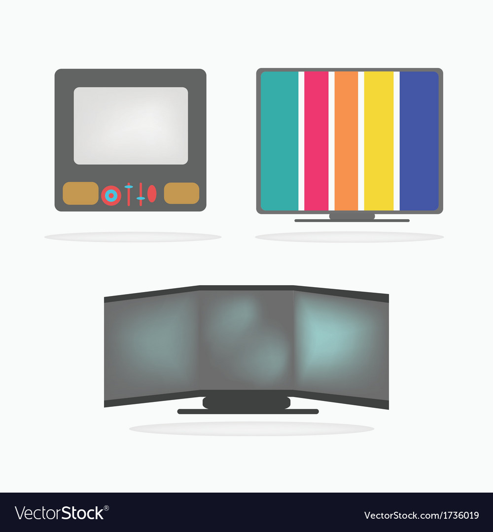 Retro television icons set vector | Price: 1 Credit (USD $1)