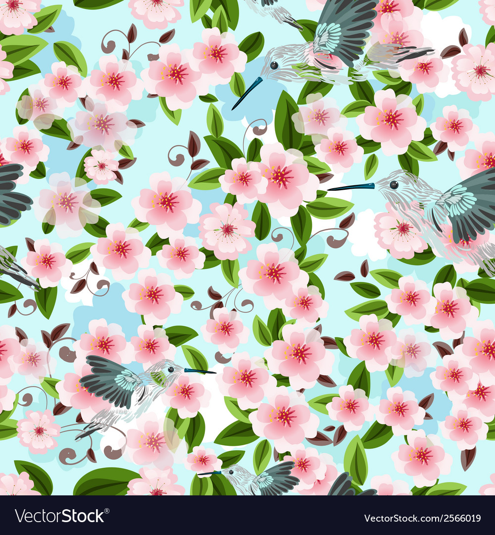 Seamless texture of blossom cherry vector | Price: 1 Credit (USD $1)