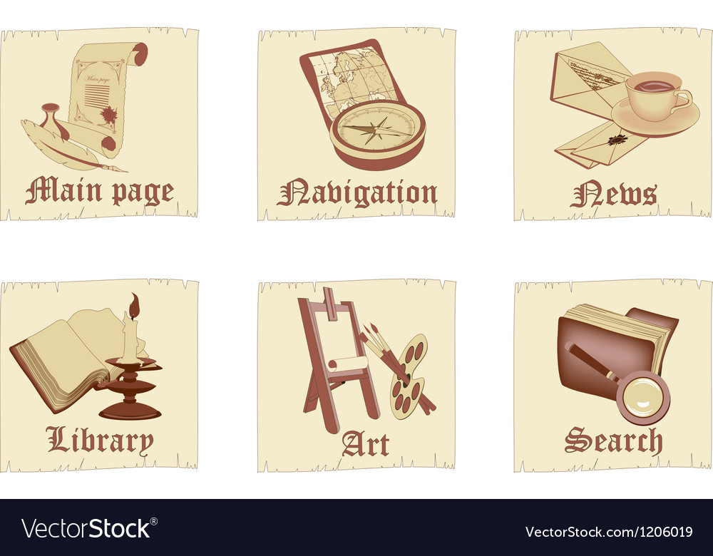 Set of antique parchment icons vector | Price: 3 Credit (USD $3)