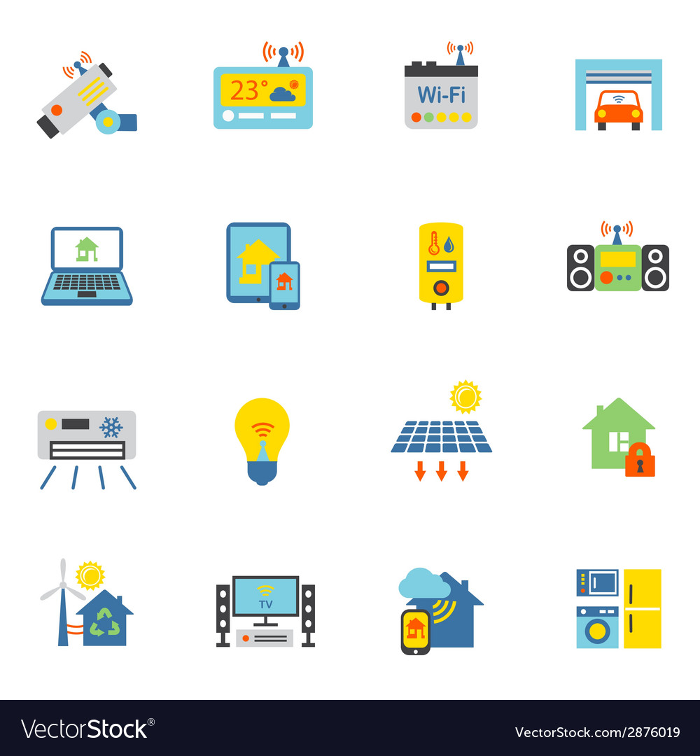 Smart home icons flat vector | Price: 1 Credit (USD $1)
