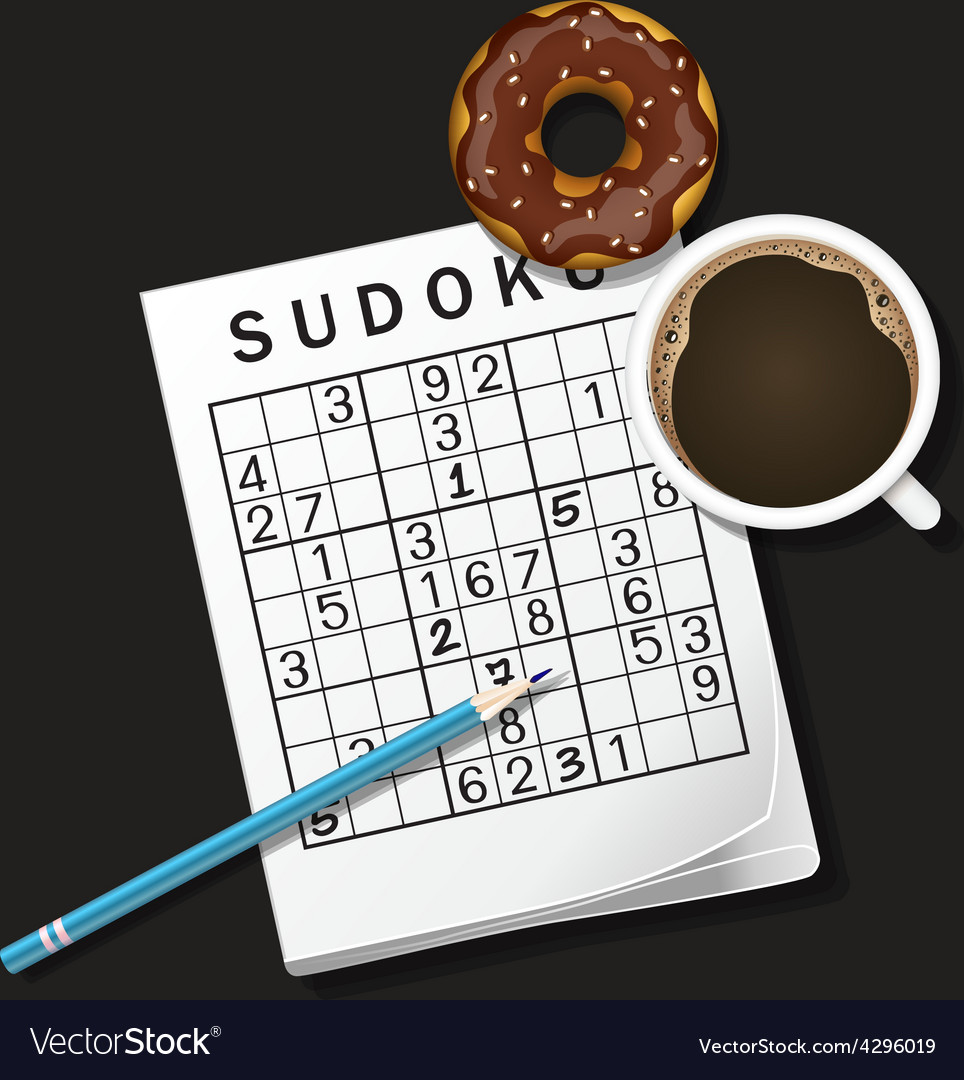 Sudoku game mug of coffee and donut vector | Price: 1 Credit (USD $1)