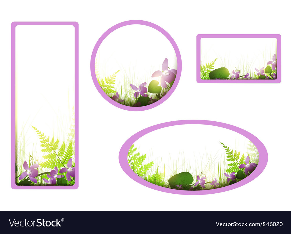 Banners with viola flowers vector | Price: 1 Credit (USD $1)