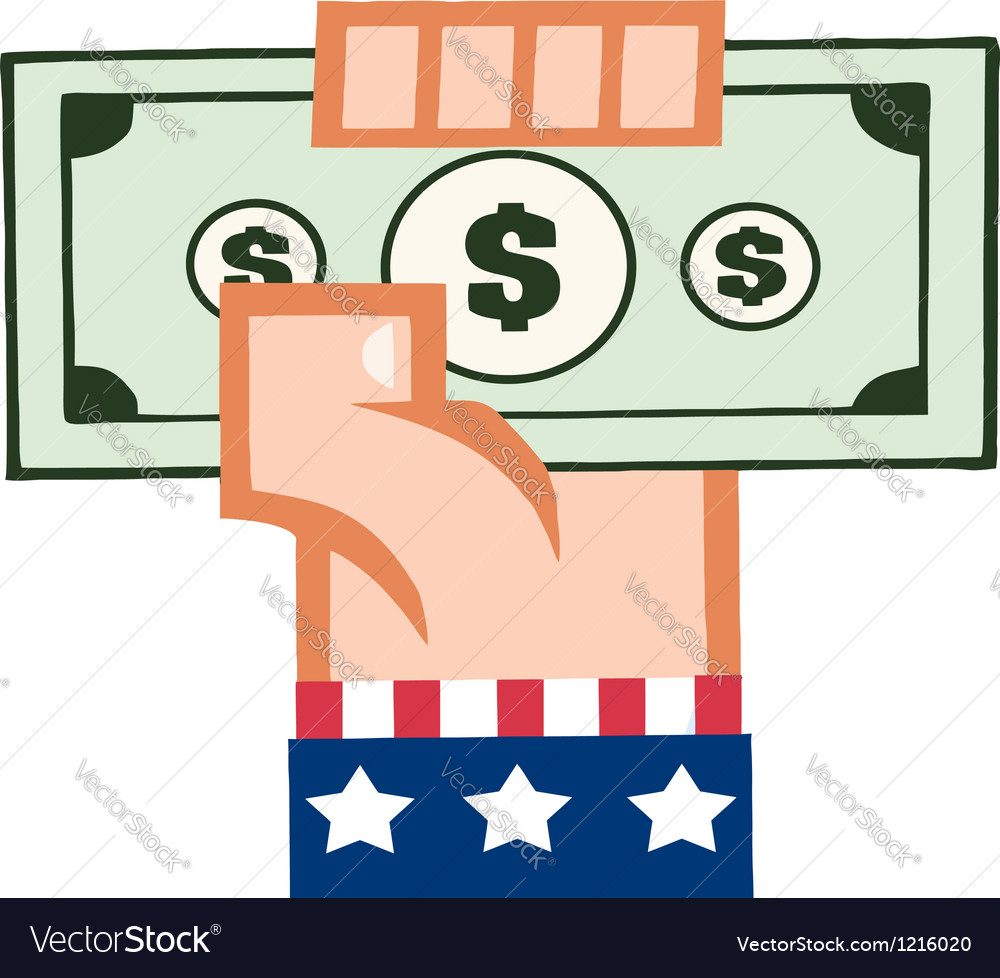 Caucasian american hand holding up cash vector | Price: 1 Credit (USD $1)