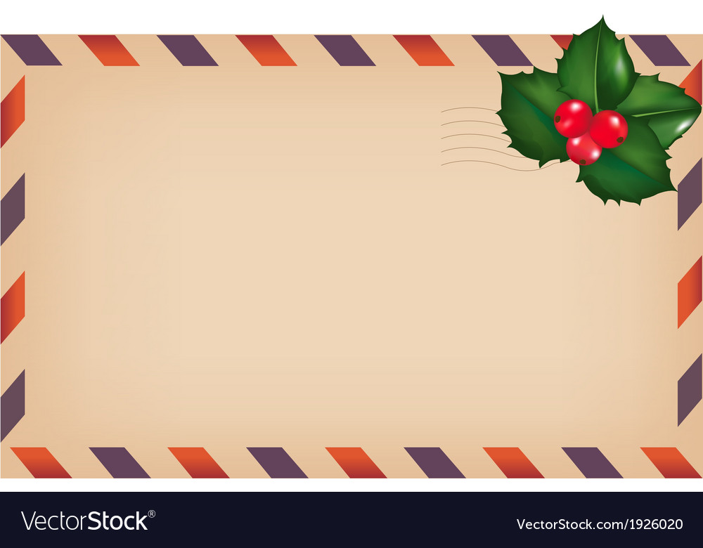Envelope with holly berry vector | Price: 1 Credit (USD $1)