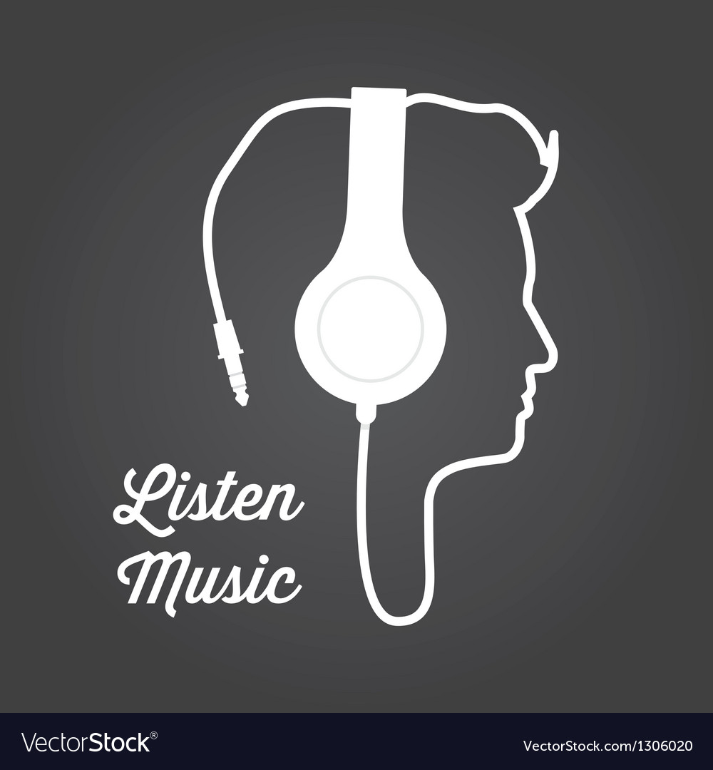 Man profile silhouette with headphone music vector | Price: 1 Credit (USD $1)