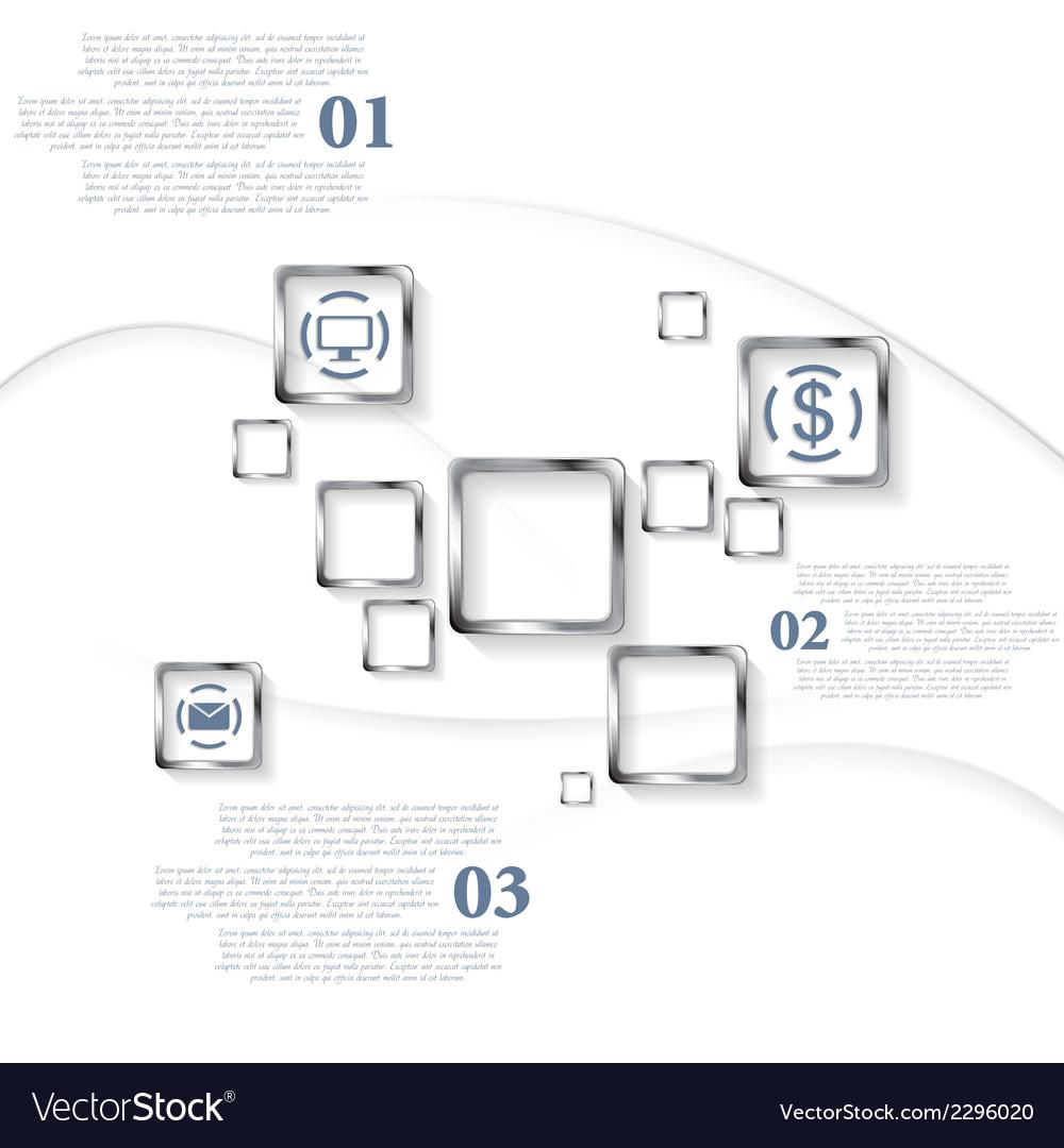 Metallic squares infographic design vector   Price: 1 Credit (USD $1)