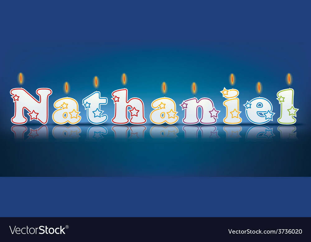 Nathaniel written with burning candles vector | Price: 1 Credit (USD $1)