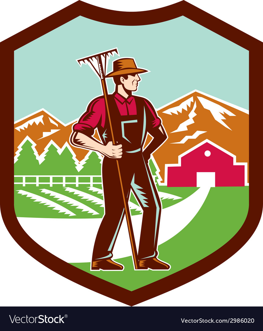 Organic farmer rake woodcut shield retro vector | Price: 1 Credit (USD $1)