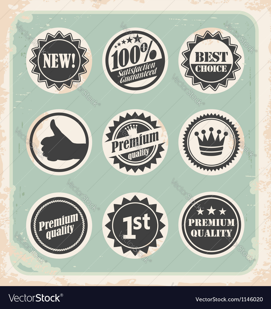 Set of promotional retro labels vector | Price: 1 Credit (USD $1)