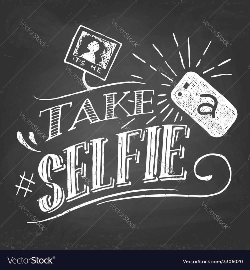 Take a selfie on blackboard vector | Price: 1 Credit (USD $1)