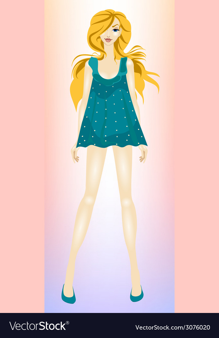 Young beautiful slender girl blonde vector | Price: 1 Credit (USD $1)