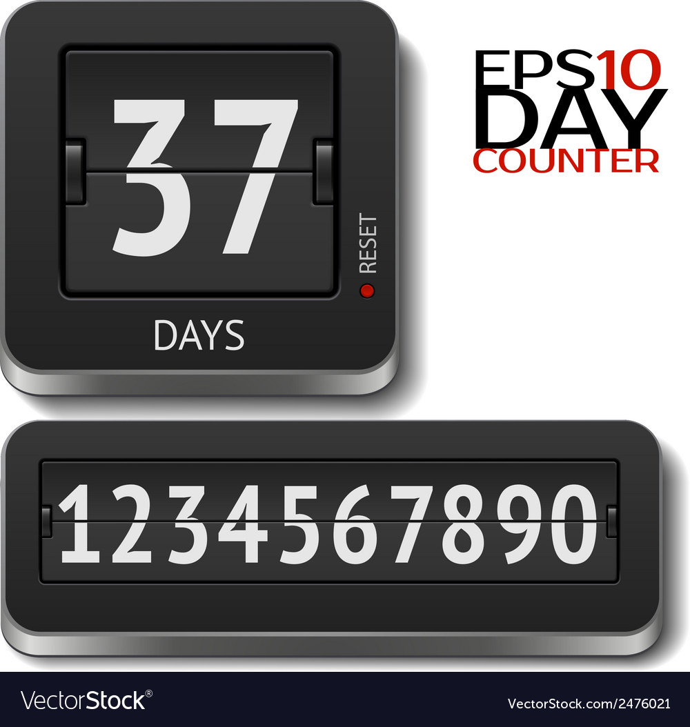 Analog flip day counter on white vector   Price: 1 Credit (USD $1)