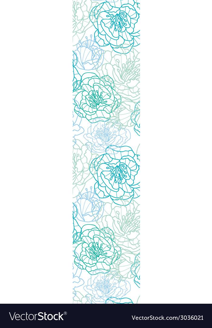 Blue line art flowers vertical border seamless vector | Price: 1 Credit (USD $1)
