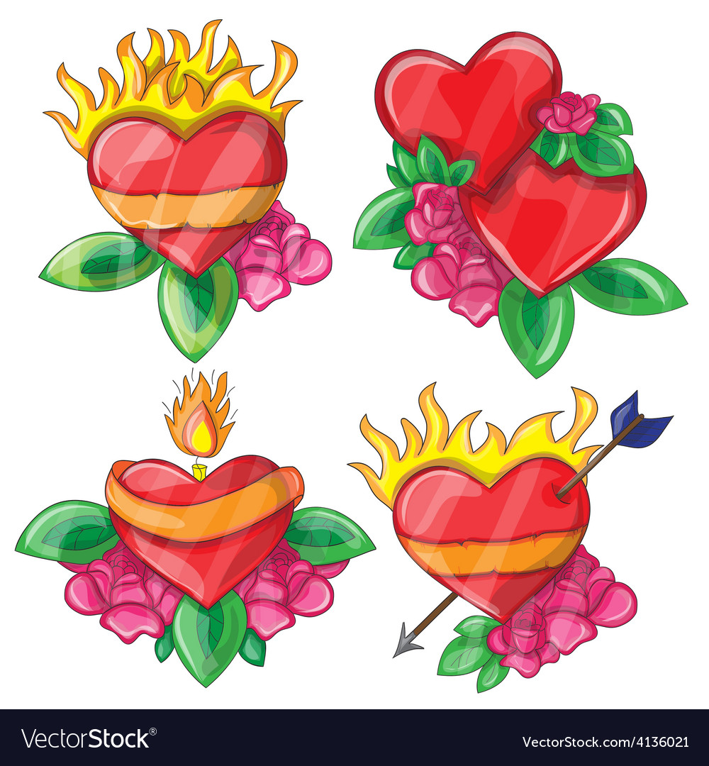 Cartoon hearts with fire for design vector   Price: 3 Credit (USD $3)