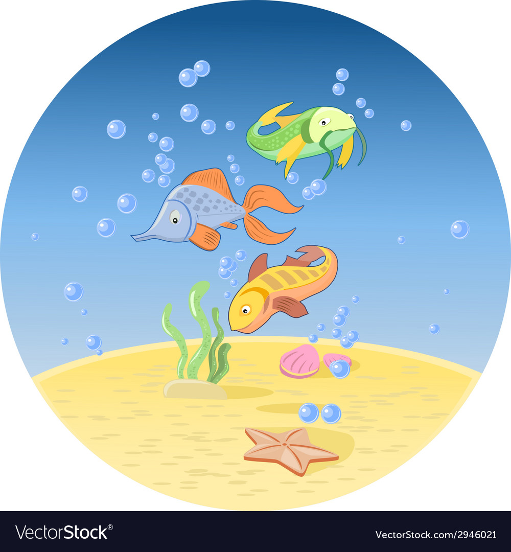 Fishes in ocean vector | Price: 1 Credit (USD $1)