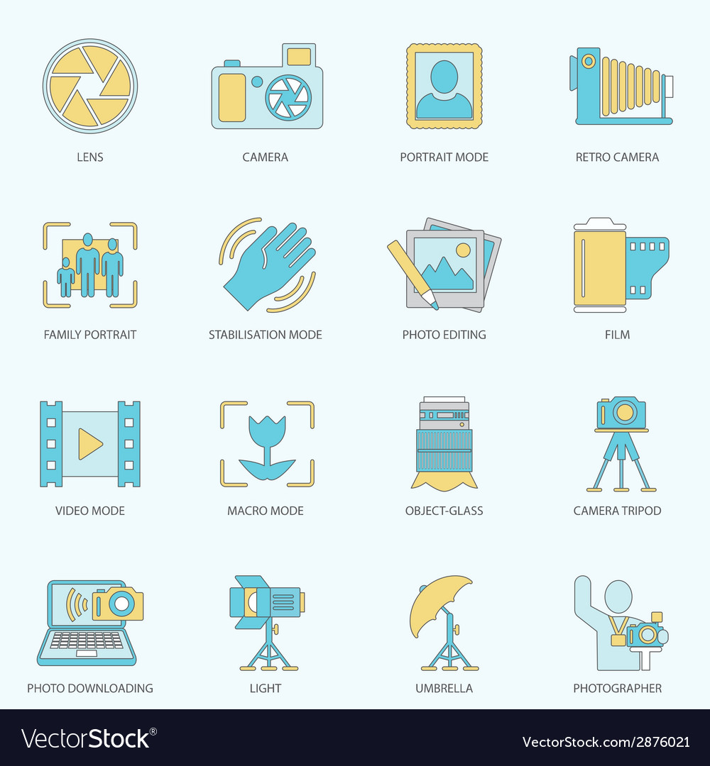 Photography icons flat line vector | Price: 1 Credit (USD $1)