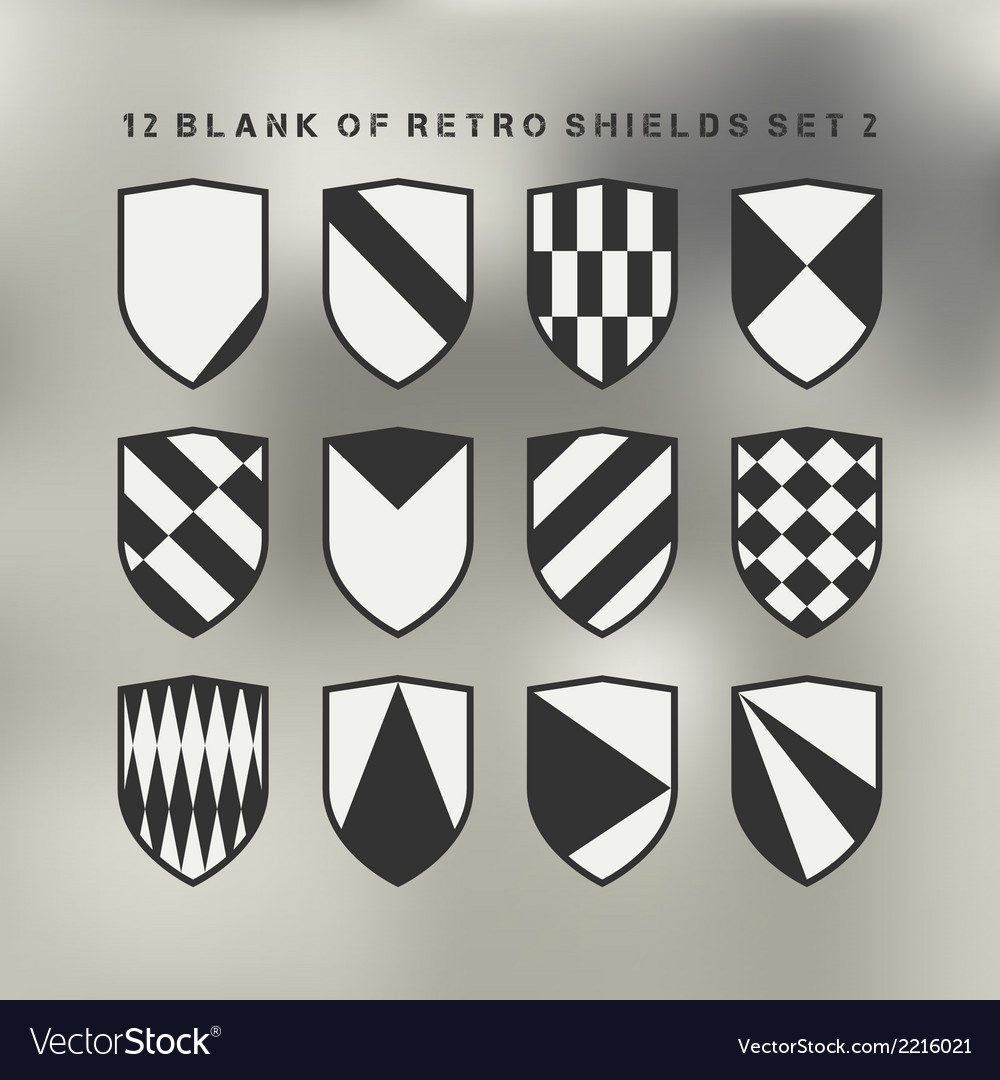 Set of shields black and white 2 vector | Price: 1 Credit (USD $1)