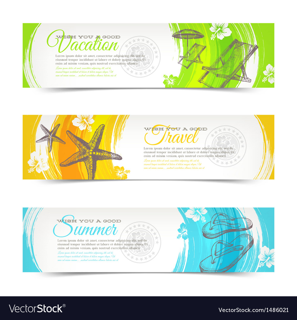 Travel and vacation hand drawn banners vector | Price: 1 Credit (USD $1)