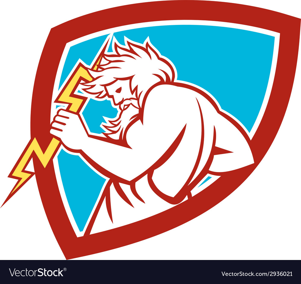 Zeus wielding thunderbolt shield retro vector | Price: 1 Credit (USD $1)