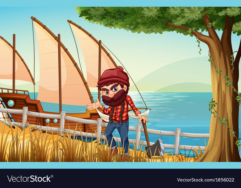 A lumberjack standing at the riverbank with a vector | Price: 3 Credit (USD $3)