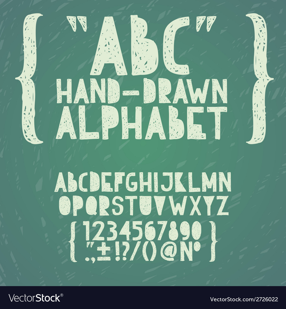 Blackboard chalkboard chalk hand draw doodle abc vector | Price: 1 Credit (USD $1)