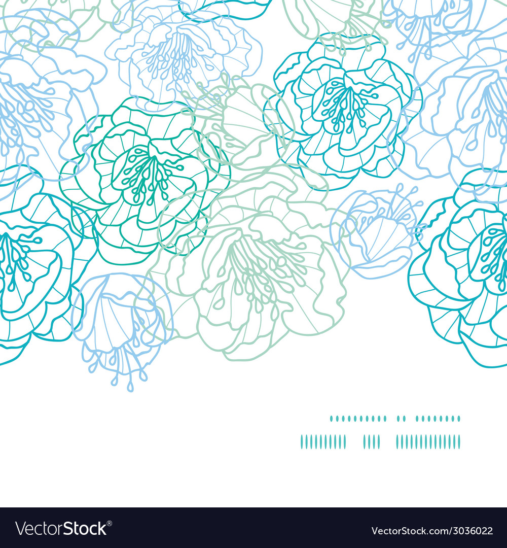 Blue line art flowers horizontal frame seamless vector | Price: 1 Credit (USD $1)