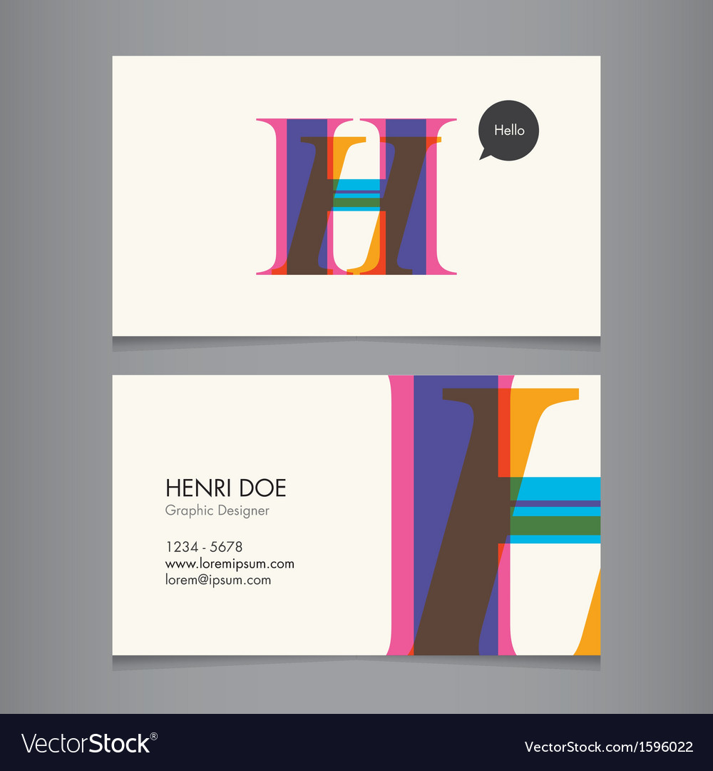 H business card vector | Price: 1 Credit (USD $1)
