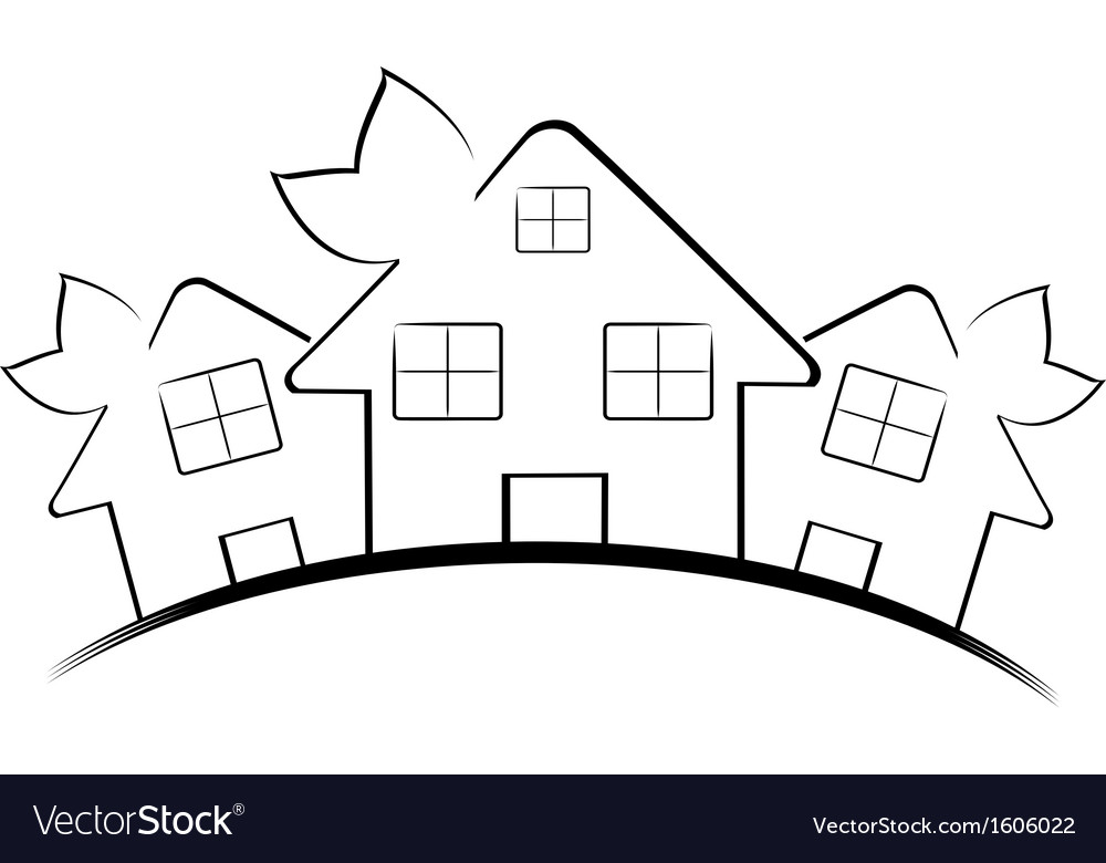 Hree houses isolated on white vector | Price: 1 Credit (USD $1)