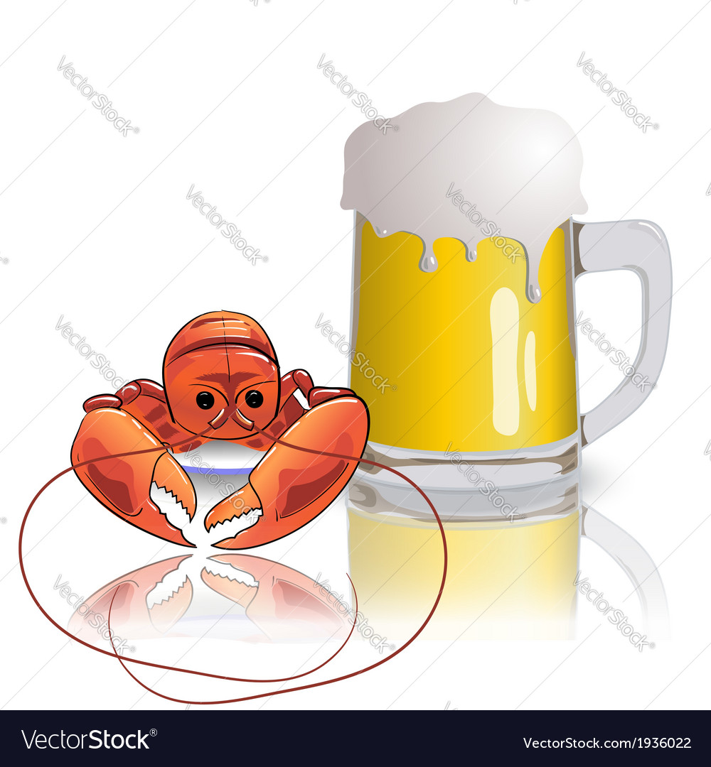 Lobster and mug of beer vector | Price: 1 Credit (USD $1)
