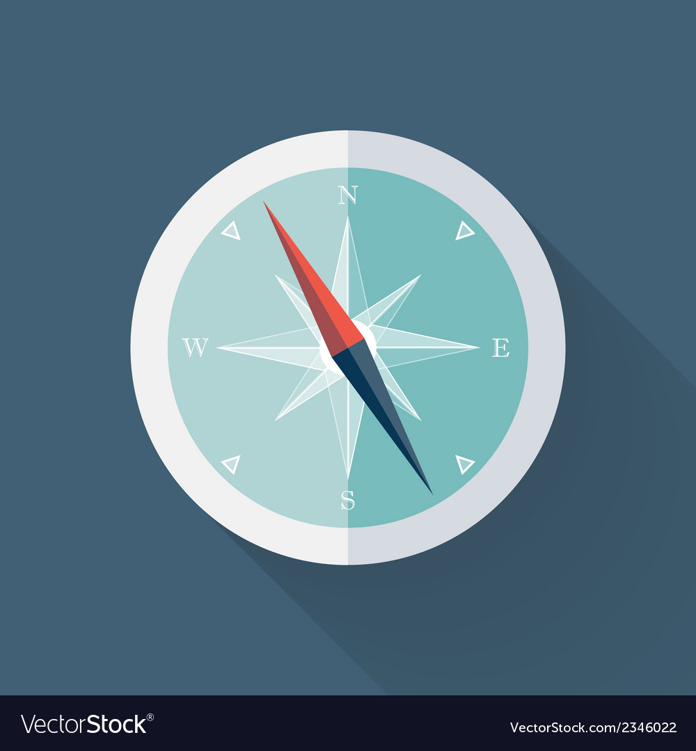 Mint compass flat icon over blue vector | Price: 1 Credit (USD $1)
