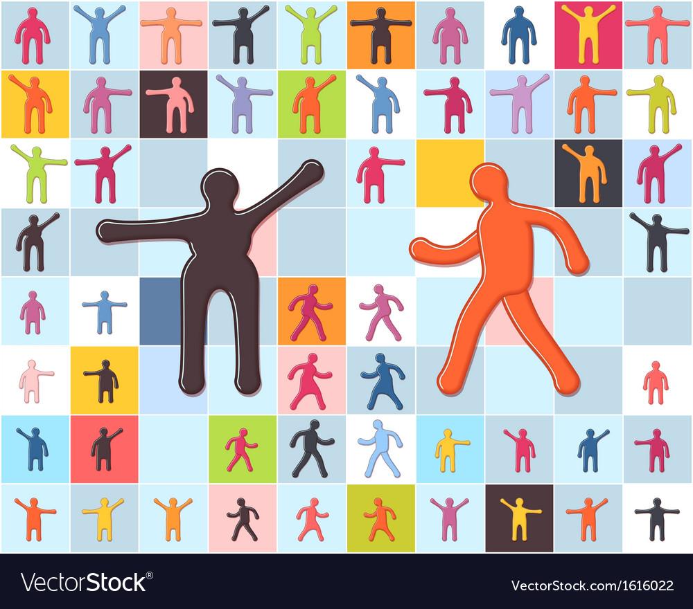 People minimalistic icons set men women children vector | Price: 1 Credit (USD $1)