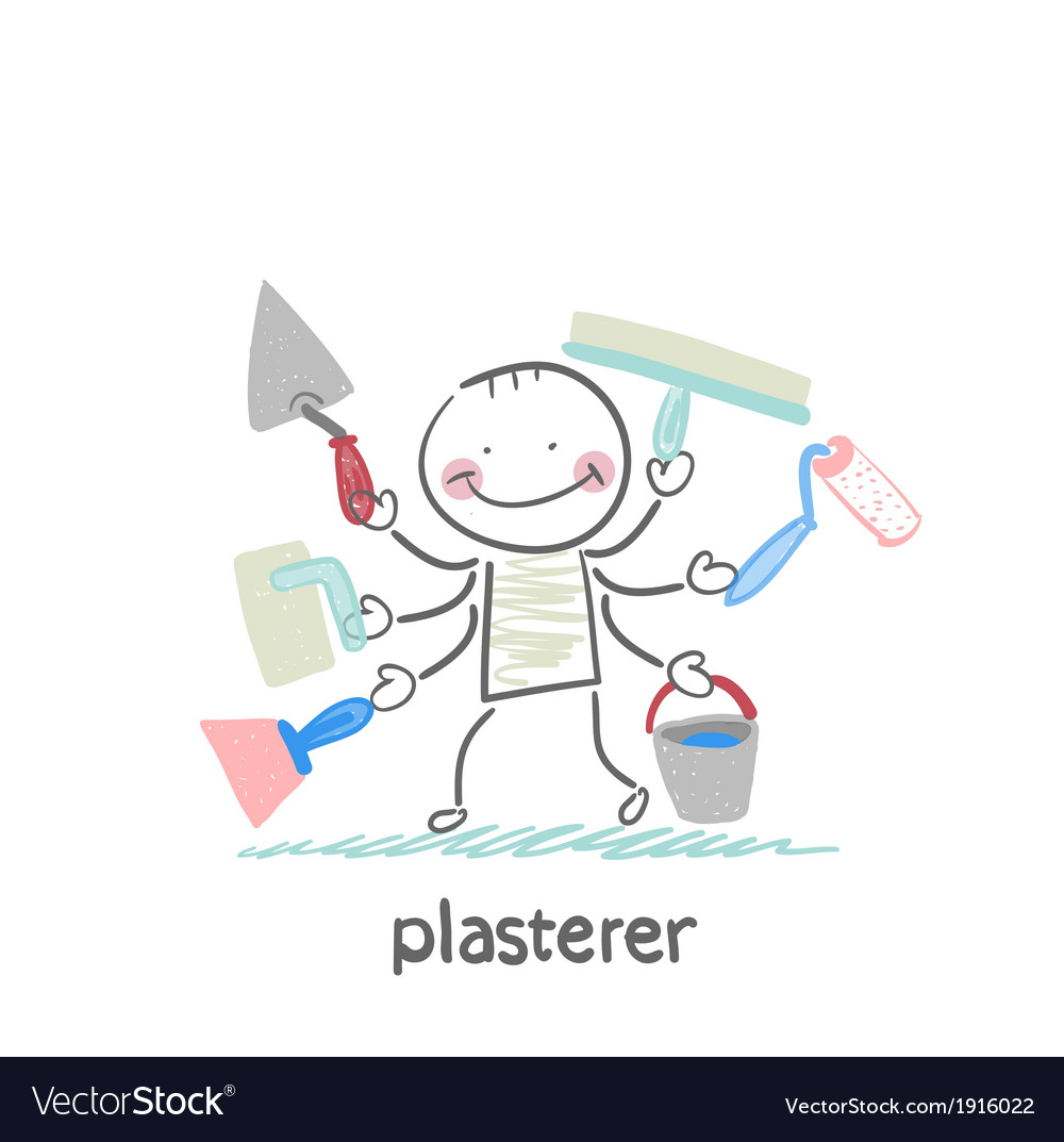 Plasterer holds a lot of tools to work vector | Price: 1 Credit (USD $1)