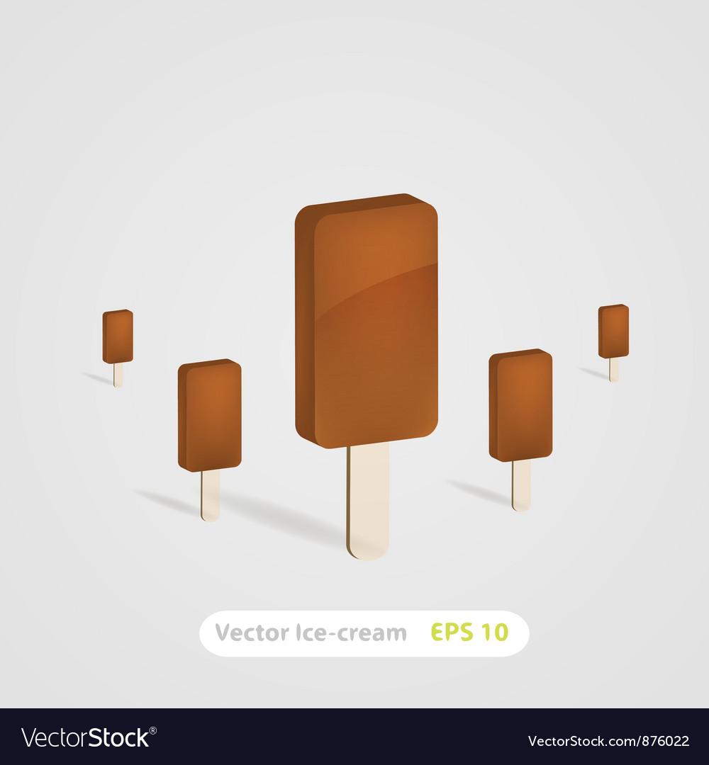 Set of chocolate ice-cream dessert on wooden stick vector | Price: 1 Credit (USD $1)