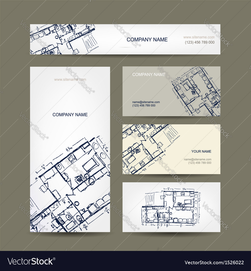 Sketch of apartment business cards for your design vector | Price: 1 Credit (USD $1)
