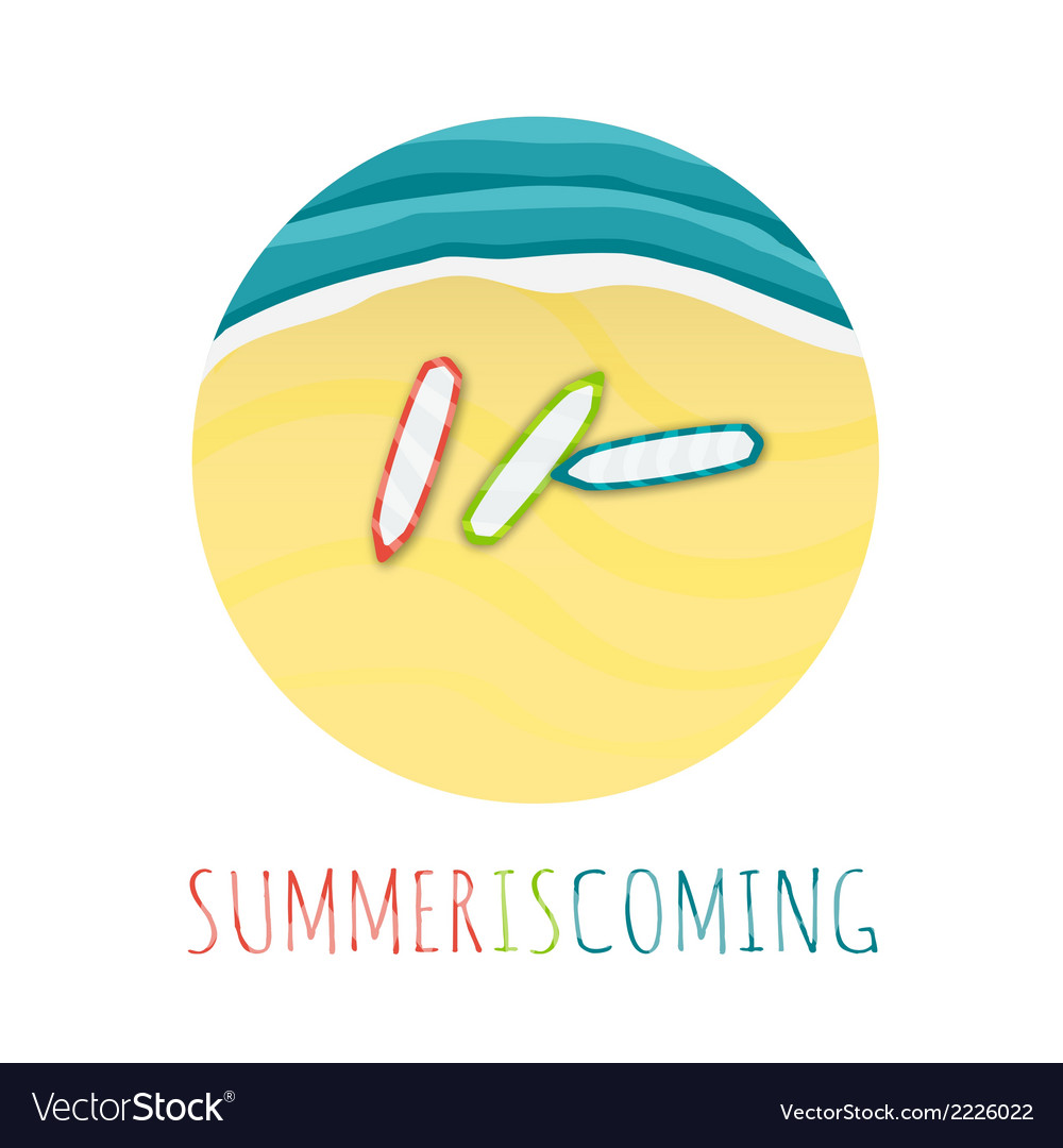 Summer is comming round with beach tide and vector | Price: 1 Credit (USD $1)