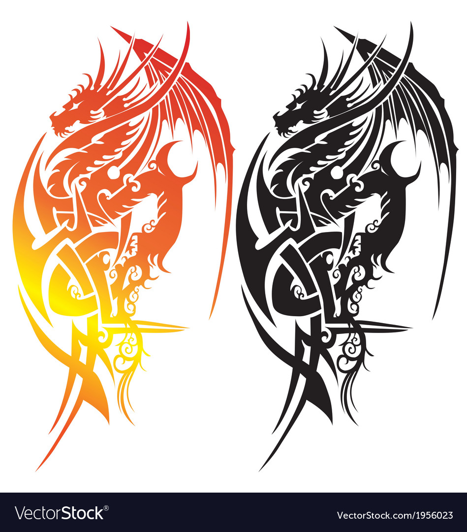 Black and white silhouette an japanese dragon fie vector | Price: 1 Credit (USD $1)