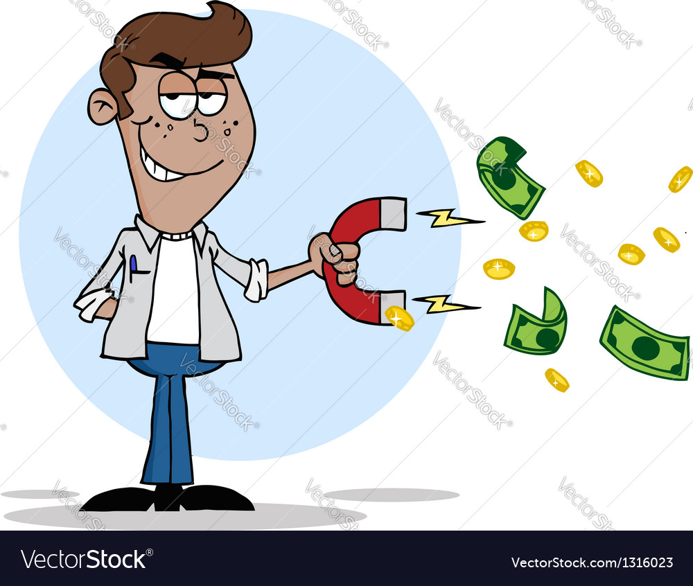Black man collecting cash with a money magnet vector | Price: 1 Credit (USD $1)