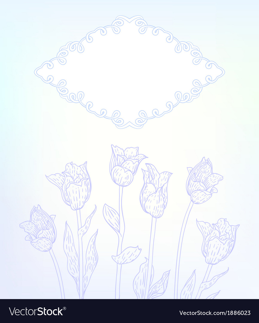 Card with hand drawn tulips on light blue vector | Price: 1 Credit (USD $1)