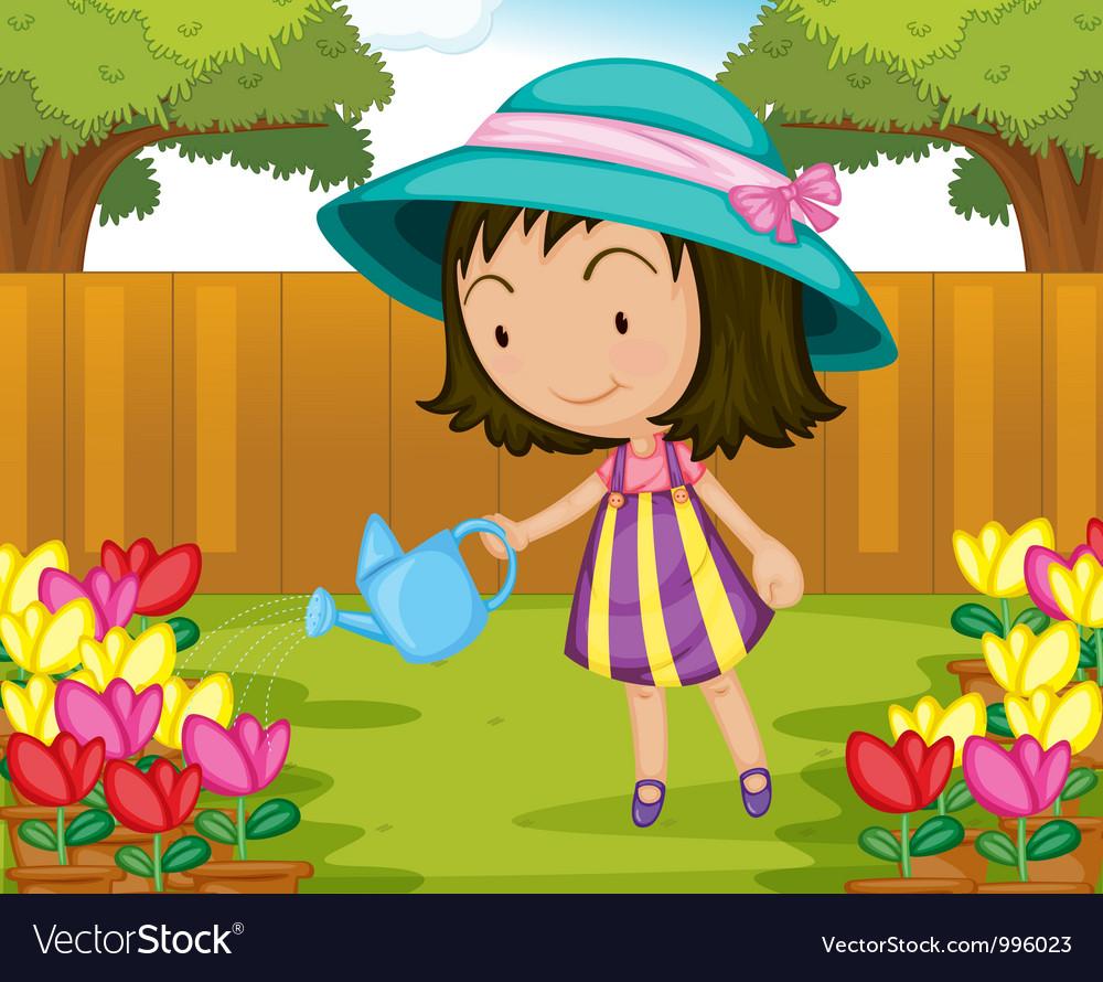 Girl watering flowers vector | Price: 3 Credit (USD $3)