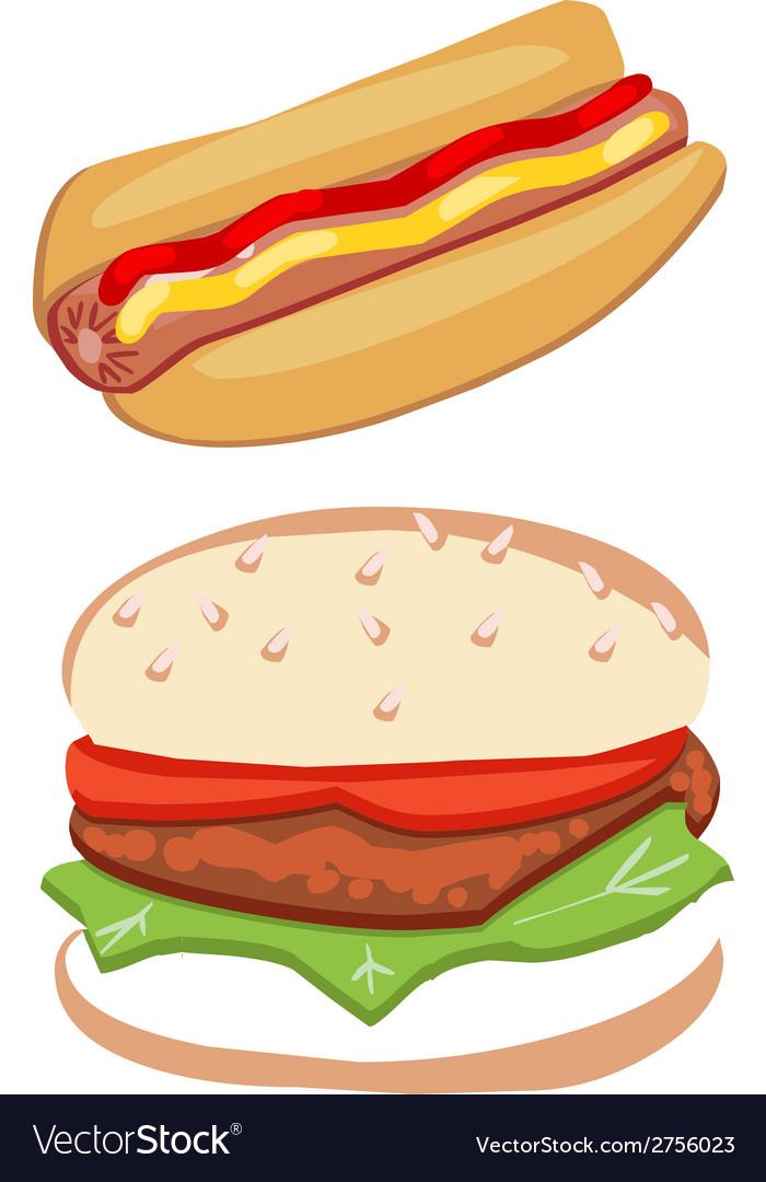 Hot dog and hamburger vector | Price: 1 Credit (USD $1)