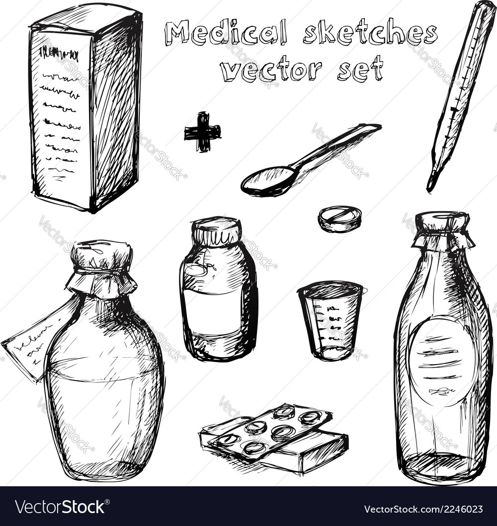 Medical sketches set vector | Price: 1 Credit (USD $1)